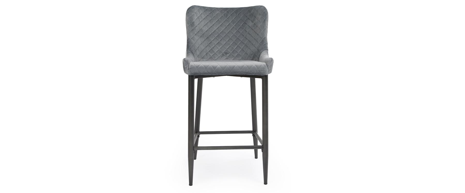 Oledo Grey Velvet Bar Stool with Black Legs