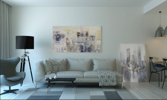 Living Room With Metallic Tones