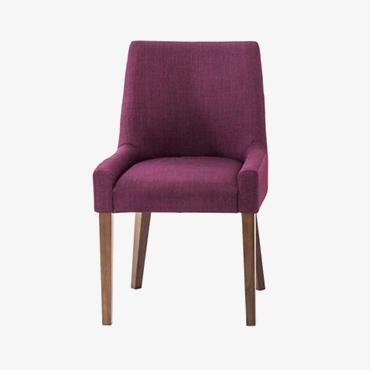 Ella Walnut Scoop Back Chair - Plum