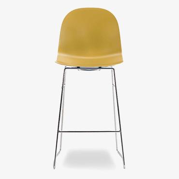 Academy Mustard Bar Stool with Chrome Base