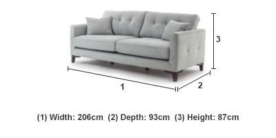 Inspire 3 Seater Sofa in Light Grey
