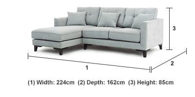 INSPIRE LIGHT GREY CORNER GROUP WITH LEFT HAND FACING CHAISE