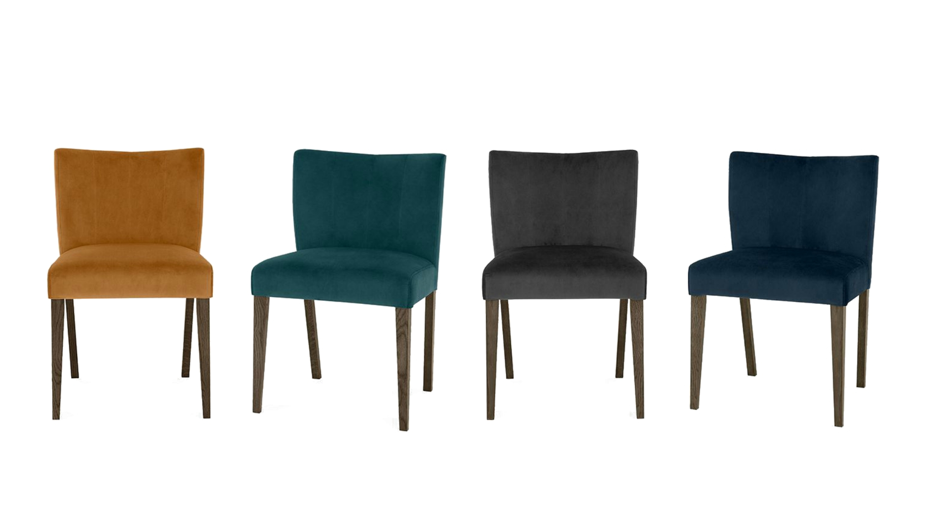 Turin Velvet Dark Oak Low Back Dining Chair