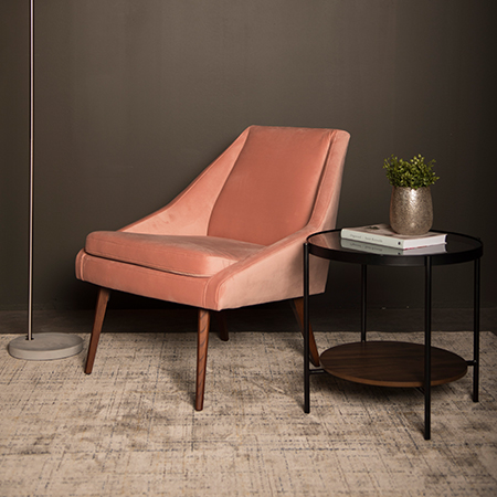 Panama Pink Velvet Angled Accent Chair
